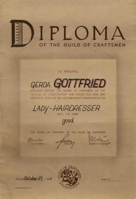 Diploma of the Guild of Craftsmen [Gerda Gottfried]