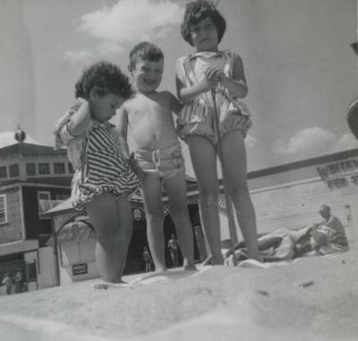 [Photograph of three children at Old Orchard Beach, Maine]