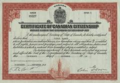 Certificate of Canadian citizenship