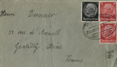 [Envelope fragment addressed to Henri Dunner]