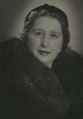 [Photograph of Rosa Baltuch wearing fur coat]