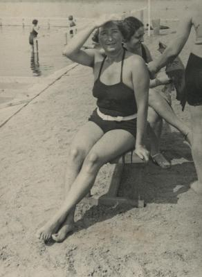 [Photograph of Julia Schmucker at beach]