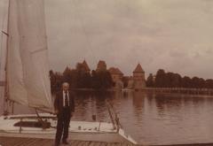 [Photograph of Boris Shak standing in front of boat in Vilnius]