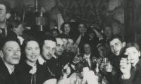 [Photograph of a group of friends celebrating the marriage of Zorach to Clara in Vilna]