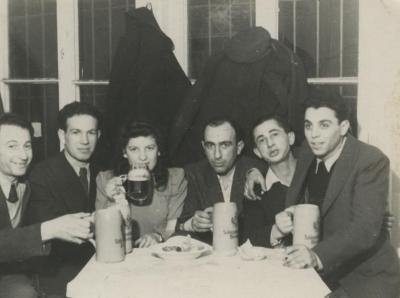 [Photograph of Boris Shak with group of partisans after the war]