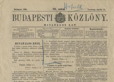 [Front Page of Budapesti Kozlony]