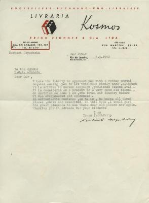 [Letter to the Censor from Norbert Geyerhahn, 1942]