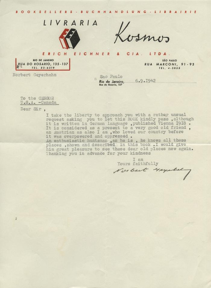 [Letter to the Censor from Norbert Geyerhahn, 1942]