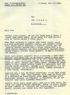 [Letter from Eric Sonner to Ota Donát]