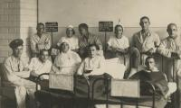 [Photograph of unidentified group in hospital]