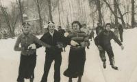 [Photograph of Ida Kaplan skating with friends]