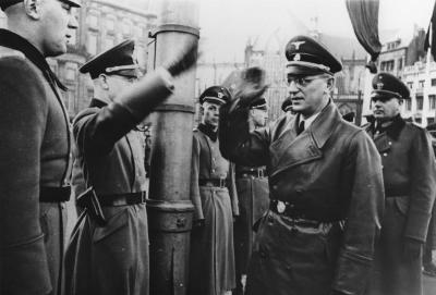 [Dr. Arthur Seyss-Inquart arrives for a German military review]