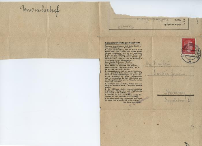 [Censored letter of Waleria Szatkowska at Auschwitz to Mrs. Janina Ćwikła]
