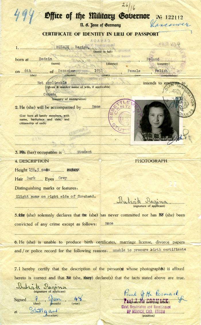 Vancouver Holocaust Education Centre Archival Item Certificate Of