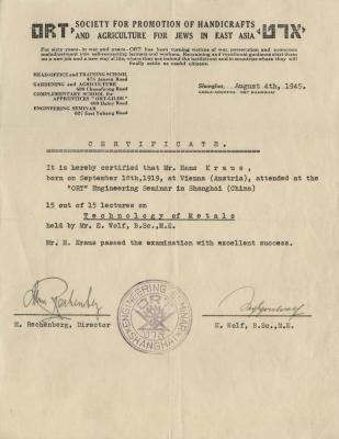 [ORT training certificate for engineering - Hans Kraus]