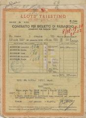 Lloyd Triestino: Contratto per Biglietto di Passaggio