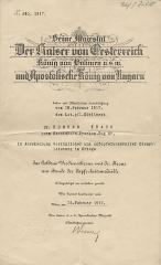 Seine Majestät Der Kaiser von Oesterreich König von Böhmen [u.s.w] und Apostolische König von Ungarn