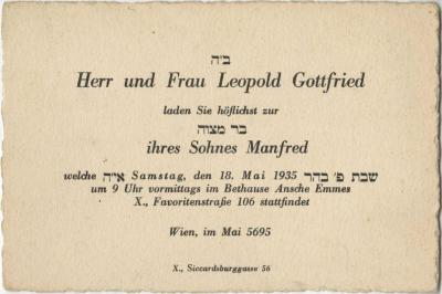 [Invitation to Manfred Gottfried's Bar Mitzvah]