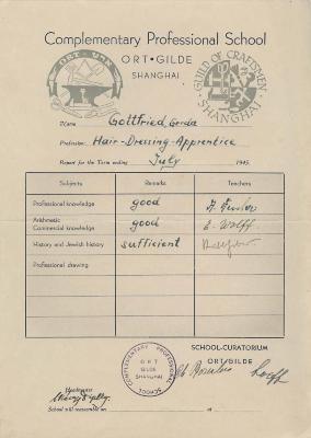 [ORT report card for hairdressing - Gerda Gottfried]