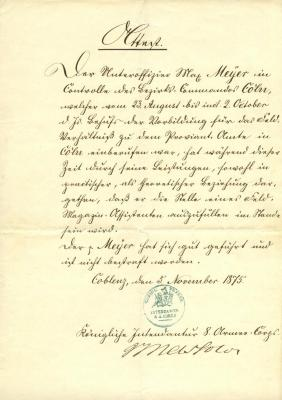 [Military record of Max Meyer]