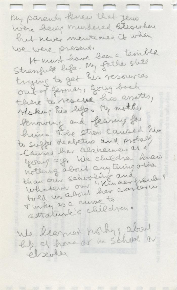 Scrap piece of paper with memoir notes