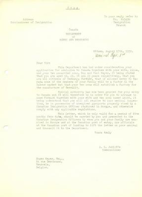 [Letter granting the Meyers entry to Canada]