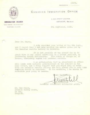 [Letter rejecting authorization to Canada]