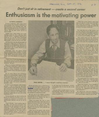 [Newspaper clipping from Paul Meyer's diary]