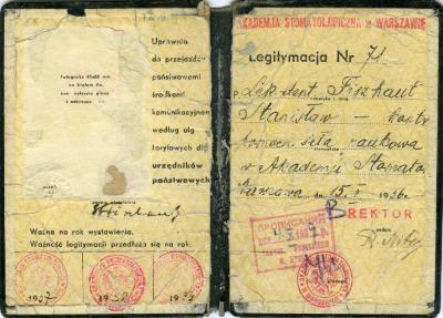 Akademja stomatologiczma w Warszawie [Stanislaw Fiszhaut student card]