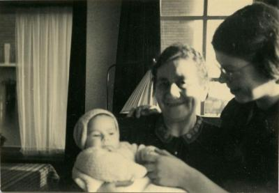 Baby Amalia with grandmother and mother