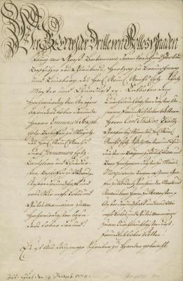 Edict signed by George III, as Prince-Elector of Hanover, to prevent the westward migration of Jews as potential carriers of the bubonic plague from Eastern Europe