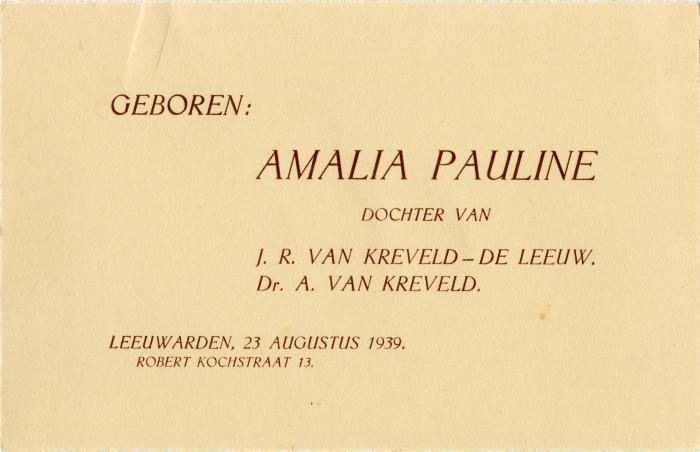 Geboren: Amalia Pauline