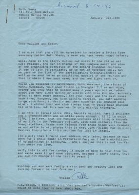 Letter to Malvine and Erich from Ruth Shany