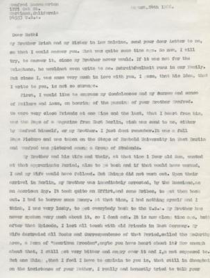 Letter to Ruth Shany from Manfred Rosengarten