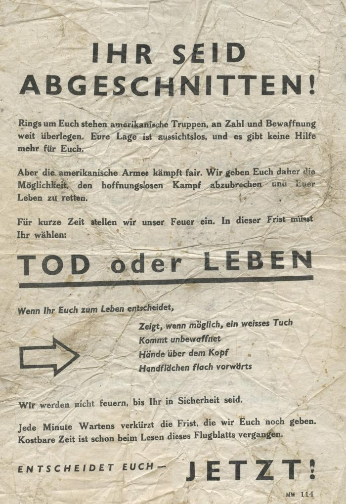 American Army terms of surrender leaflet
