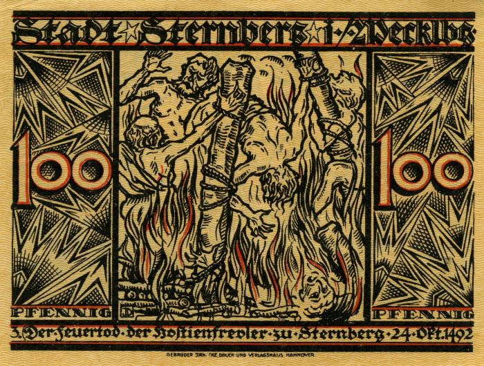 Antisemitic 100 pfennig notgeld from Sternberg, Germany