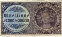 1 krone banknote from the Protectorate of Bohemia and Moravia