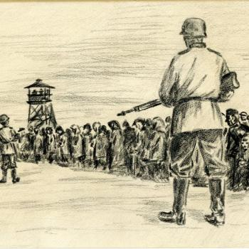 Charcoal drawing of prisoner selection at Auschwitz-Birkenau