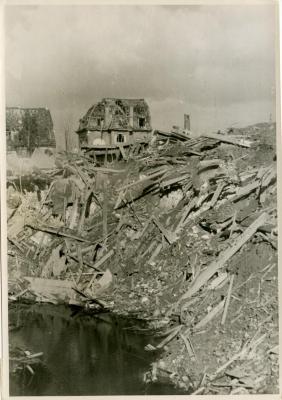 Bomb crater in Gock [Goch]