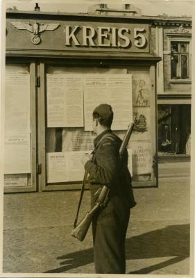 Canadian airman LAC White (Vancouver) examines Nazi notice board, Hamburg