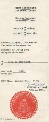 Birth certificate for Jennie Lifschitz