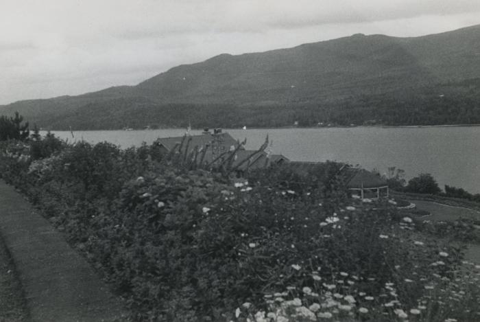 [Photograph of view of lake and hills]
