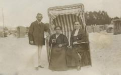 [Photograph of Max and Martha Bick and unidentified woman at beach]